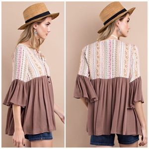 538409bdc86 bchic_boutique Tops | Bell Sleeve Mocha Mix Max Tunic Top | Poshmark